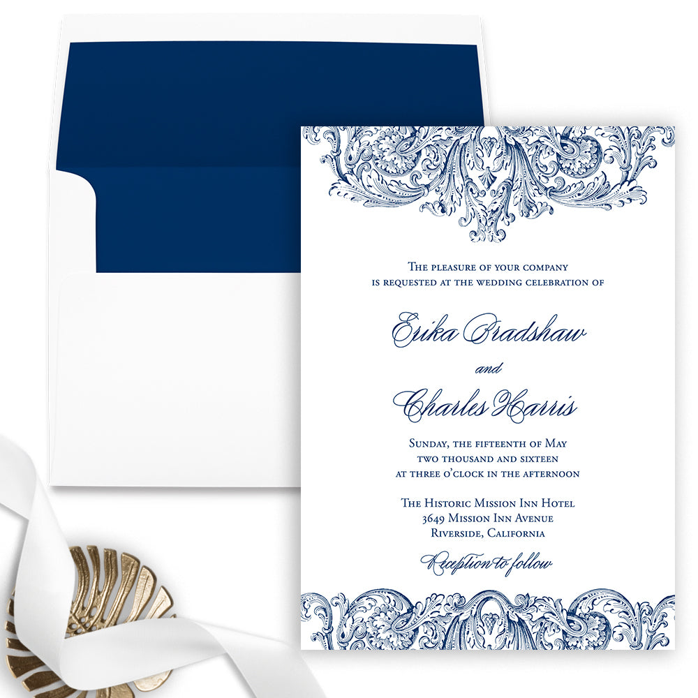 Vintage Romantic Wedding Invitation - Flat Printing - Sample