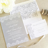 Elegant Lace Wedding Invitation - Flat Printing