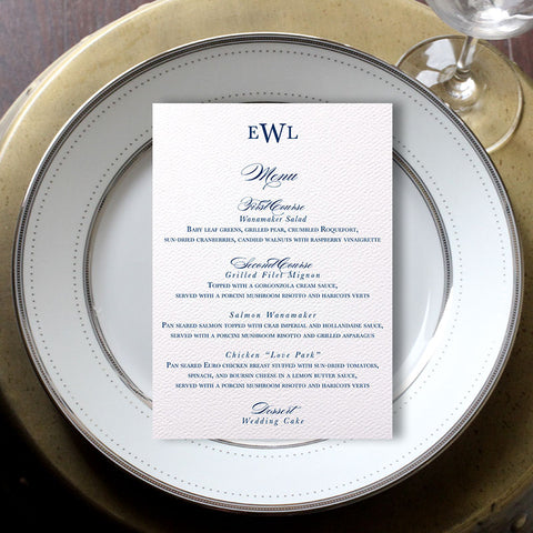 Traditional Monogram Wedding Menu