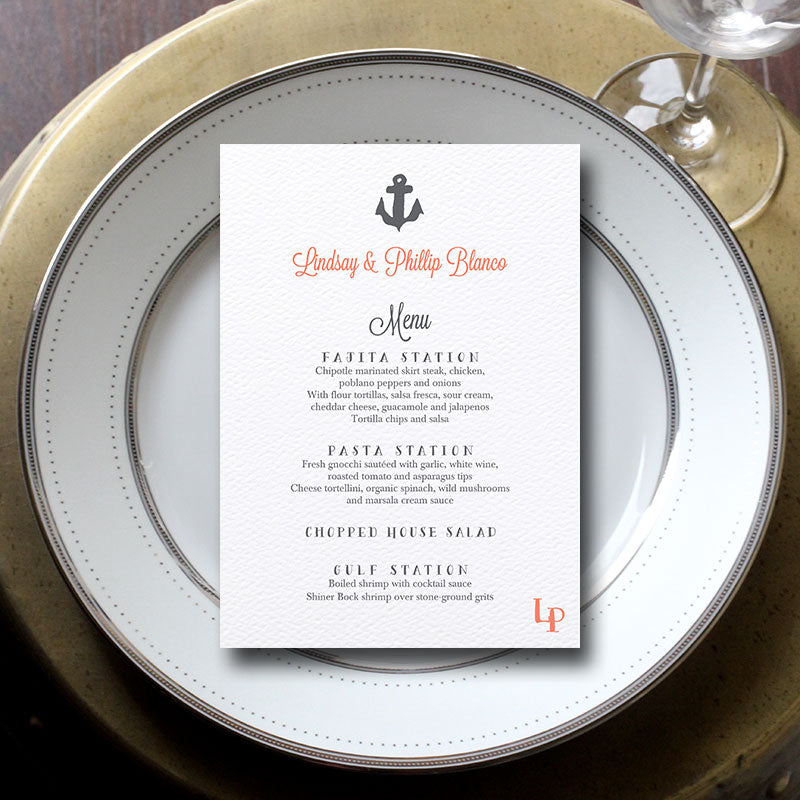 Nautical Anchor Wedding Menu