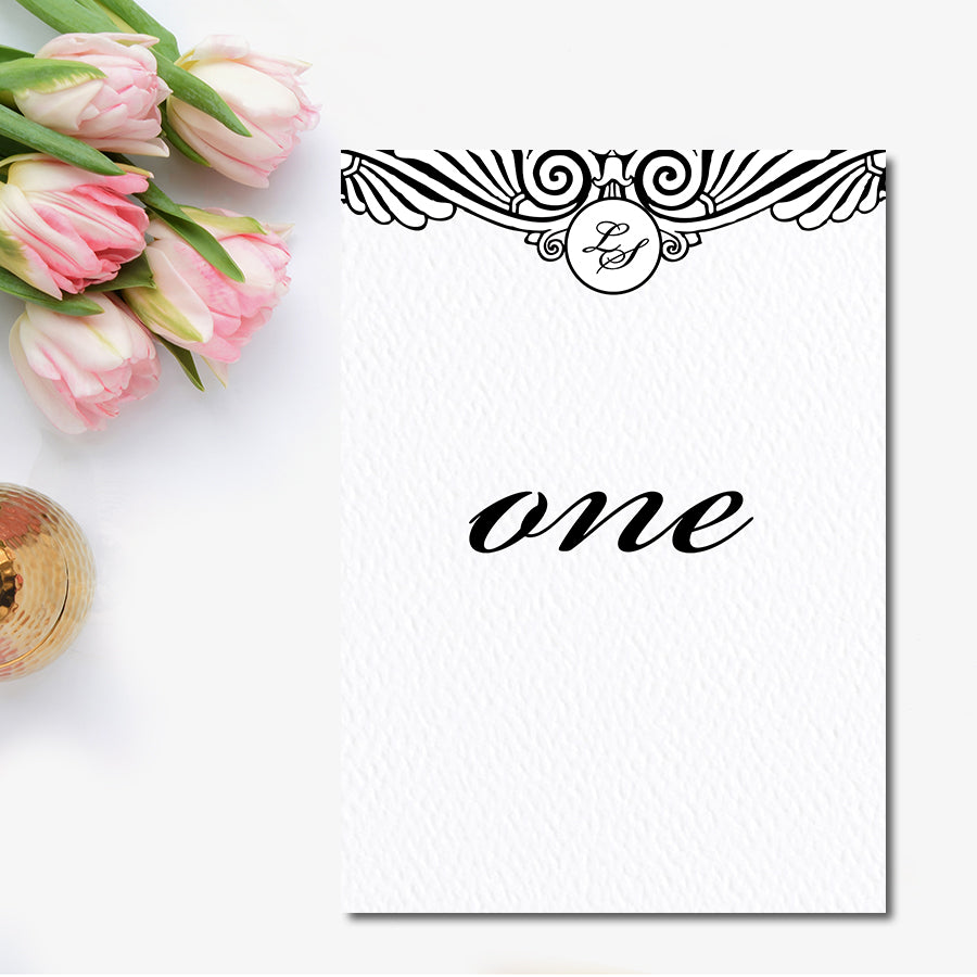 Art Deco Table Number Blush Paperie