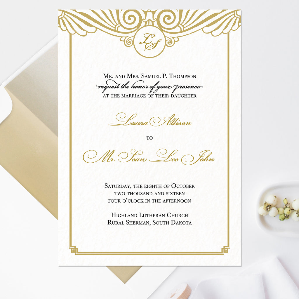 Art Deco Wedding Invitation - Flat Printing