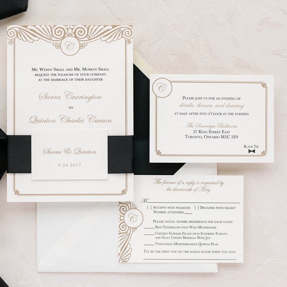 Art Deco Wedding Invitation Gold and Black