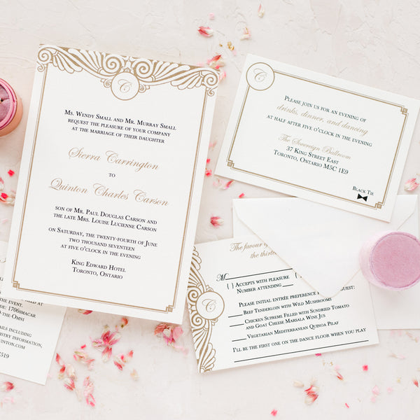 Art Deco Wedding Invitation Thermography Blush Paperie