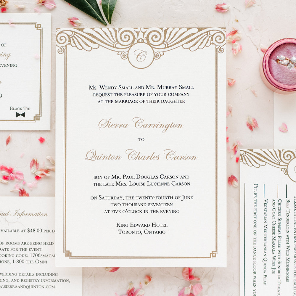 Art Deco Wedding Invitation - Thermography – Blush Paperie