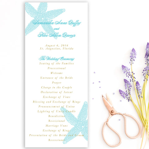 Starfish Beach Wedding Program