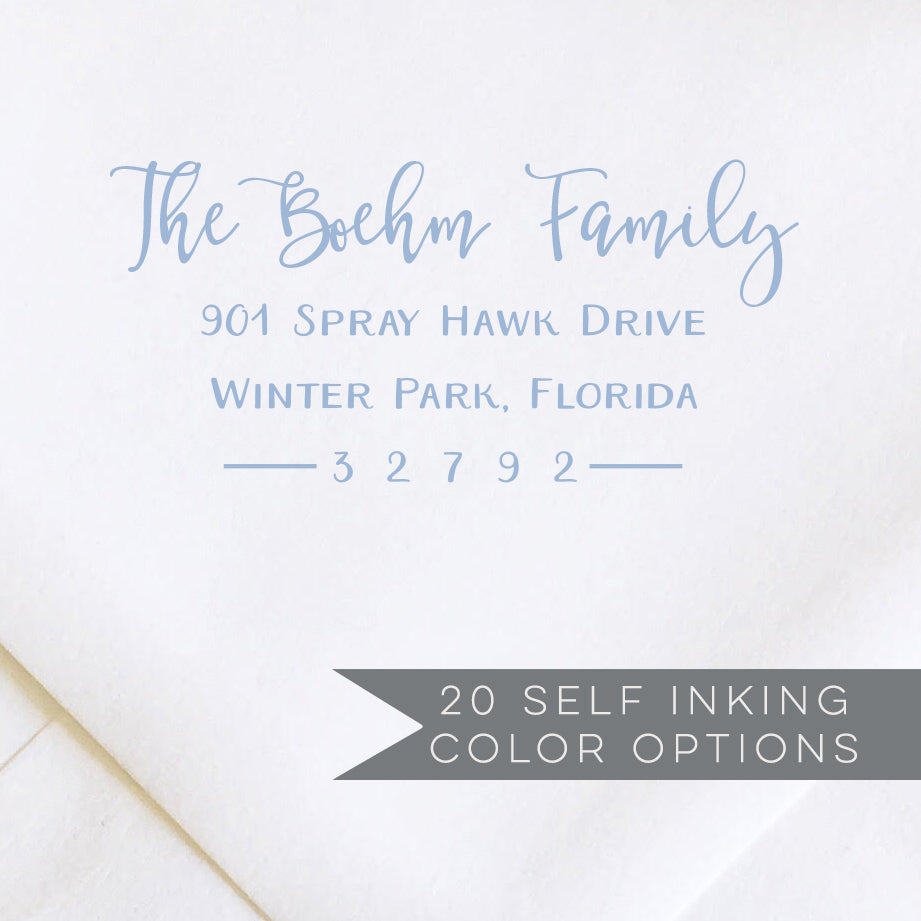 modern calligraphy return address stamp in blue