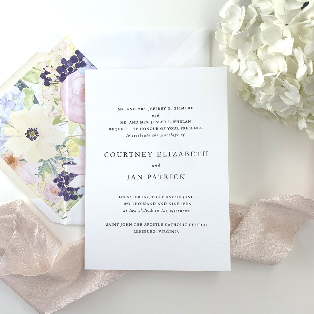 Minimalist Wedding Invitation - Thermography - Sample