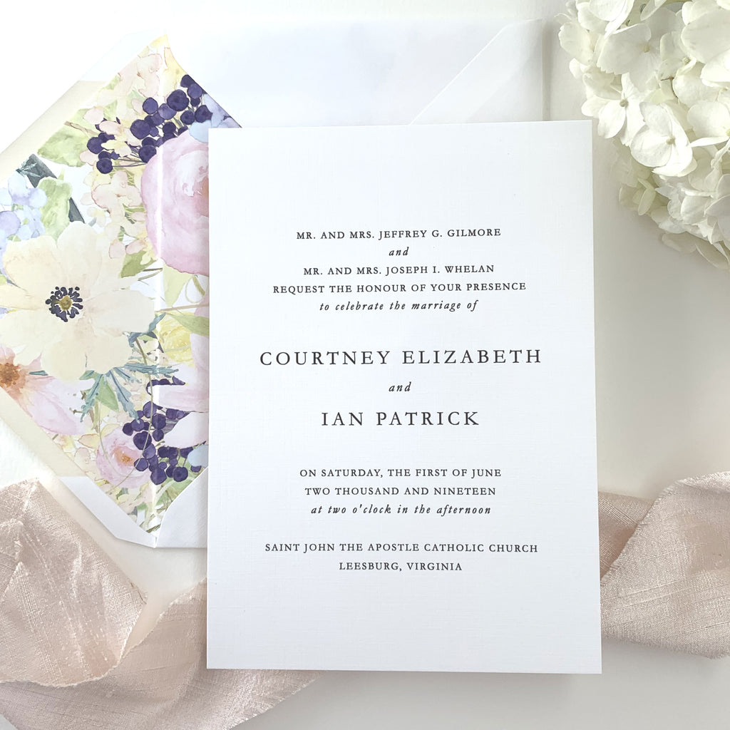 Minimalist Wedding Invitation - Thermography