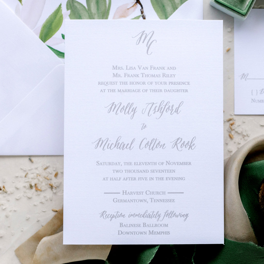 Initials Monogram Wedding Invitation - Thermography