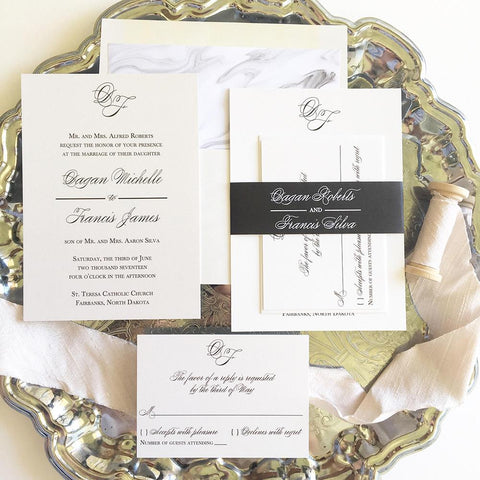 Initials Monogram Wedding Invitation - Flat Printing