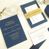 Navy and Gold Wedding Invitation