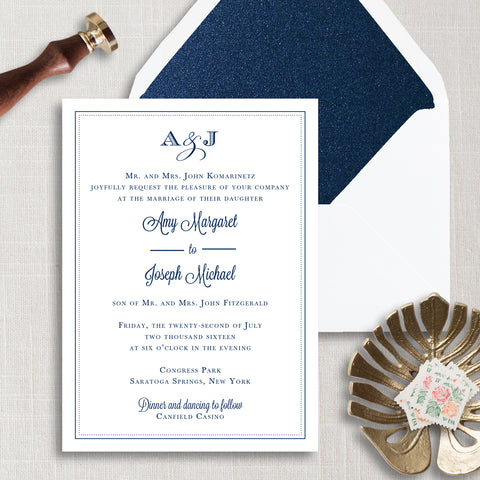 Monogram Border Wedding Invitation - Thermography