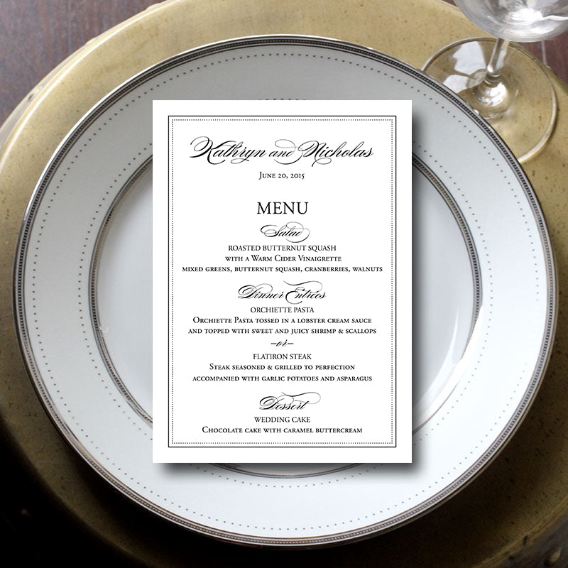 Bordered Wedding Menu