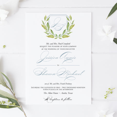 Botanical Monogram Wedding Invitation - Flat Printing