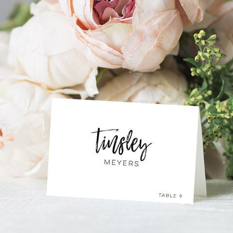 Brush Calligraphy Place Card