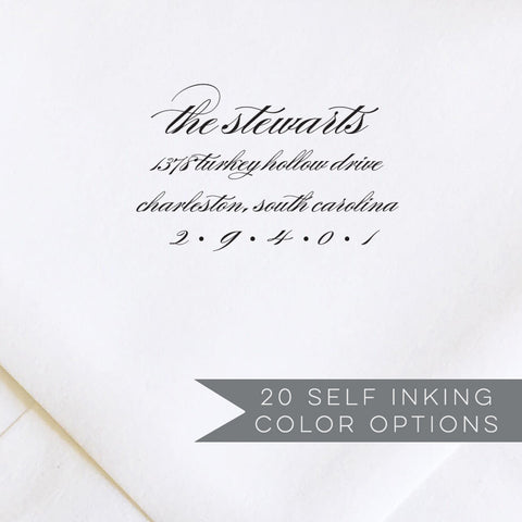 Romantic Calligraphy Address Stamp