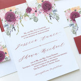 Burgundy Flower Wedding Invitation