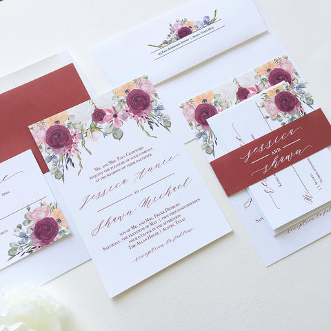Burgundy Floral Wedding Invitation - Flat Printing