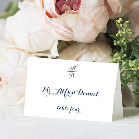 Calligraphy Monogram Place Card