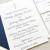 Calligraphy Monogram Wedding Invitation - Thermography