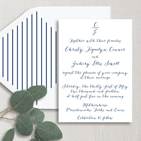 Calligraphy Monogram Wedding Invitation - Thermography - Sample
