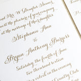 Minimalist Calligraphy Wedding Invitation - Thermography - Sample