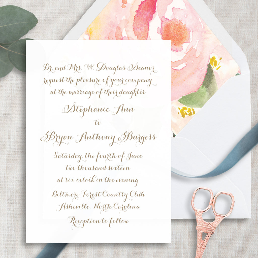 Minimalist Calligraphy Wedding Invitation - Thermography