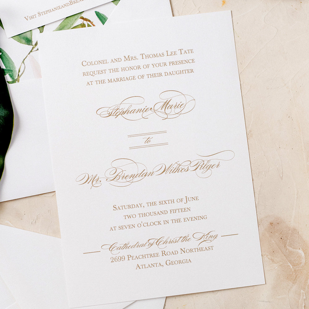 Charleston Wedding Invitation - Thermography - Sample