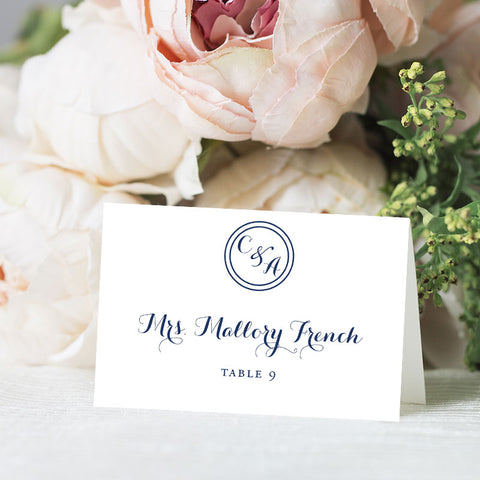Circle Monogram Place Card