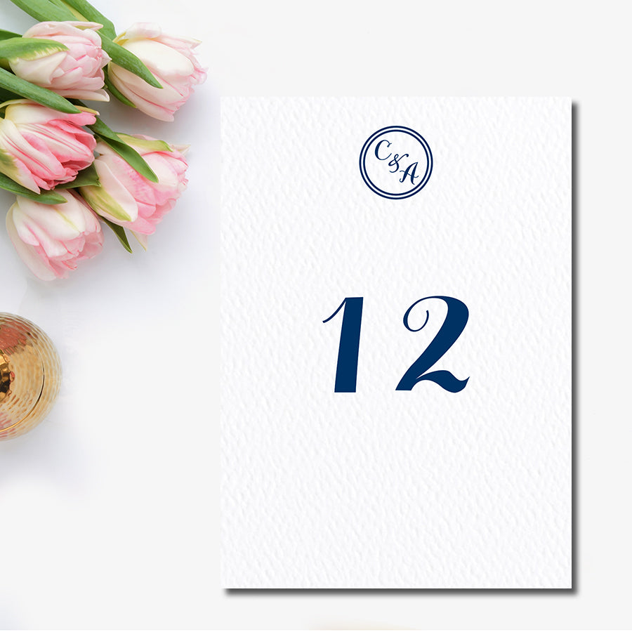 Circle Monogram Table Number