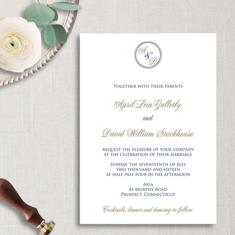 Circle Monogram Wedding Invitation - Thermography - Sample