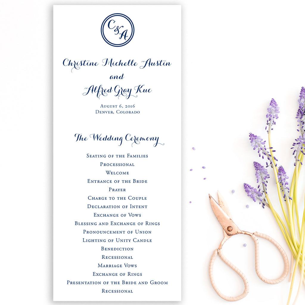 Circle Monogram Wedding Program