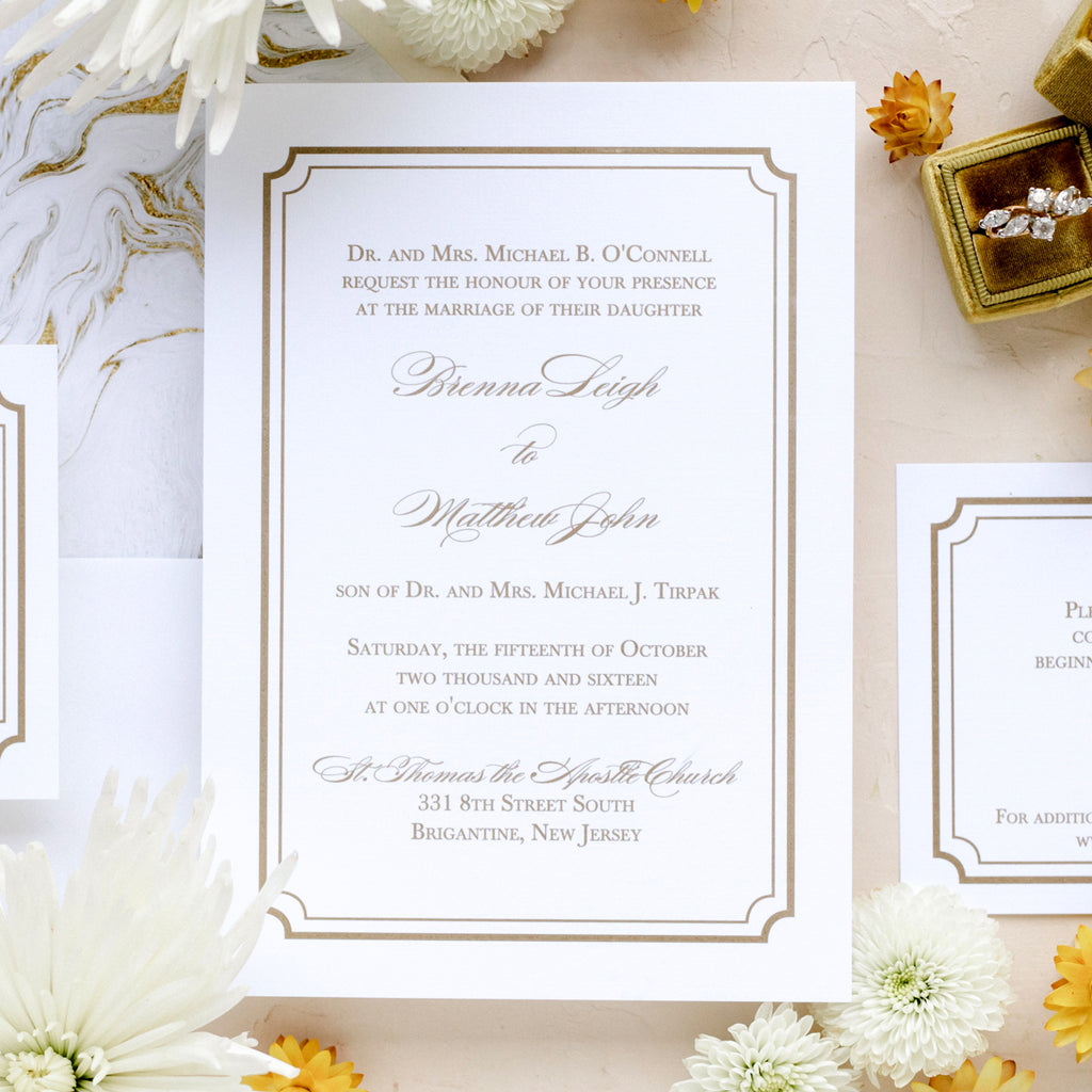 Gold Frame Wedding Invitation - Thermography - Sample
