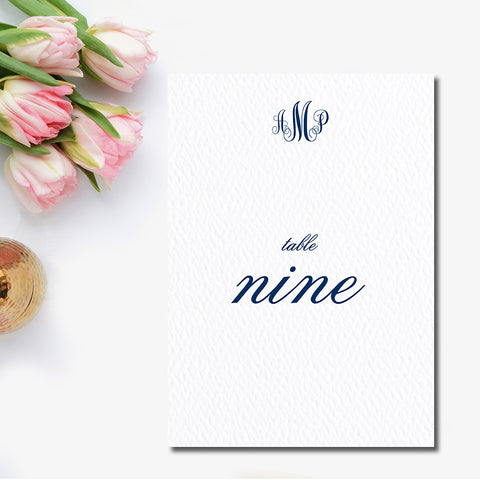 Elegant Monogram Table Number