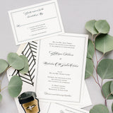 Bordered Wedding Invitation - Thermography