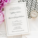 Bordered Wedding Invitation - Thermography - Sample