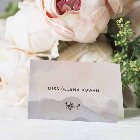 Pink Grey Marble Place Card