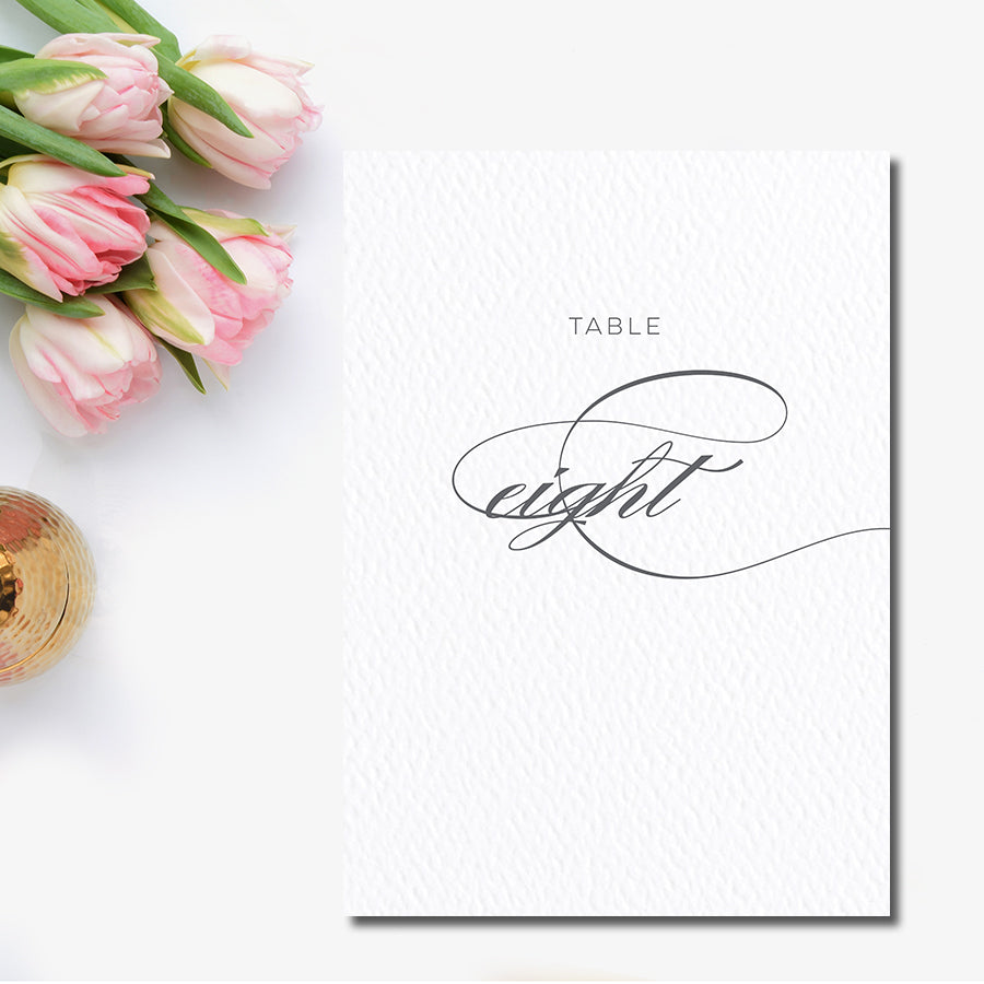 Elegant Grey Table Number