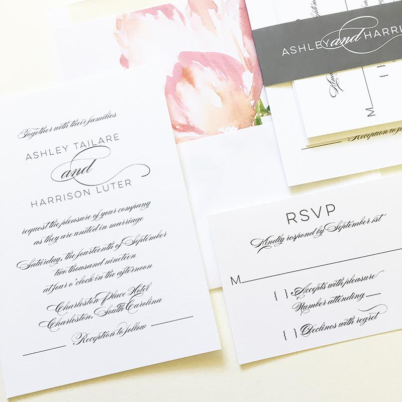 Elegant Grey Wedding Invitation Suite
