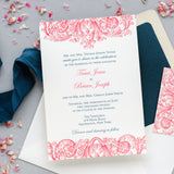 Coral and Navy Wedding Invitation with Vintage Design