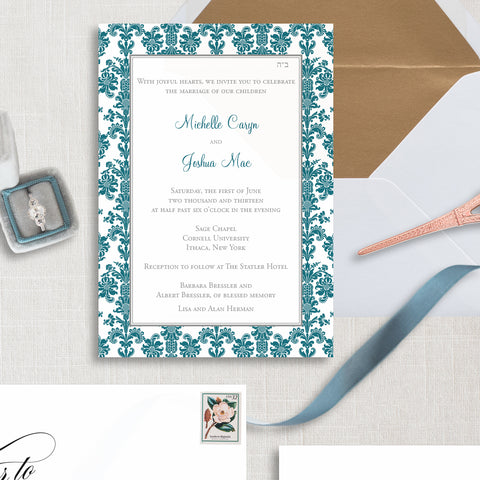 Damask Wedding Invitation - Thermography