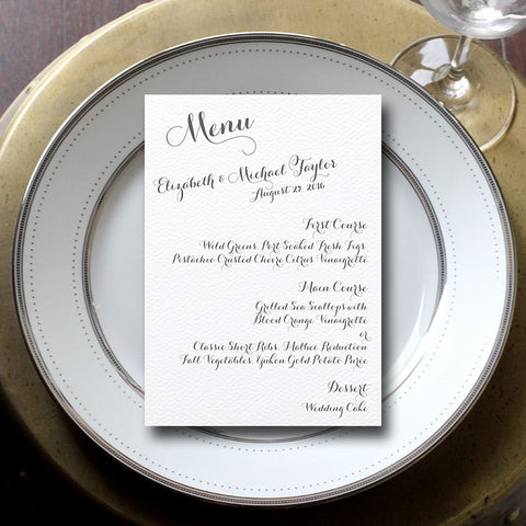 Elizabeth Wedding Menu