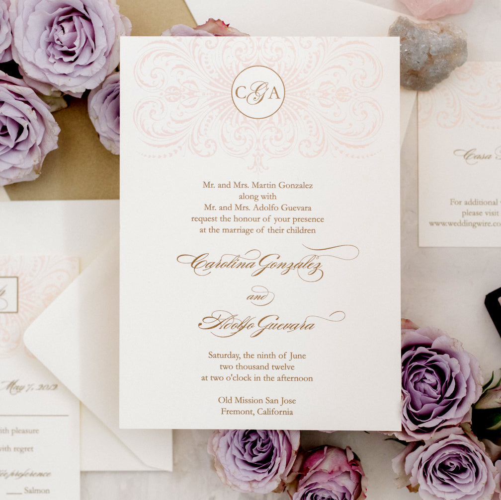 pink gold old Hollywood wedding invitation