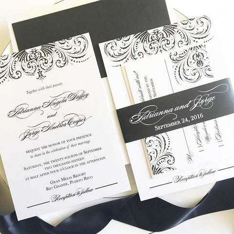 Great Gatsby Wedding Invitation - Flat Printing