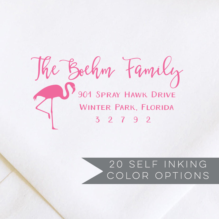 Flamingo Address Stamp