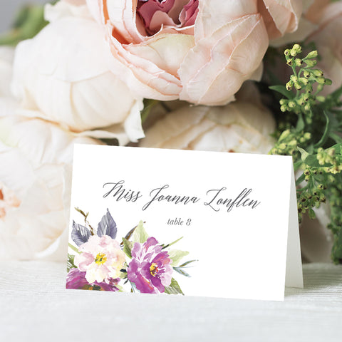 Bohemian Floral Purple Place Card