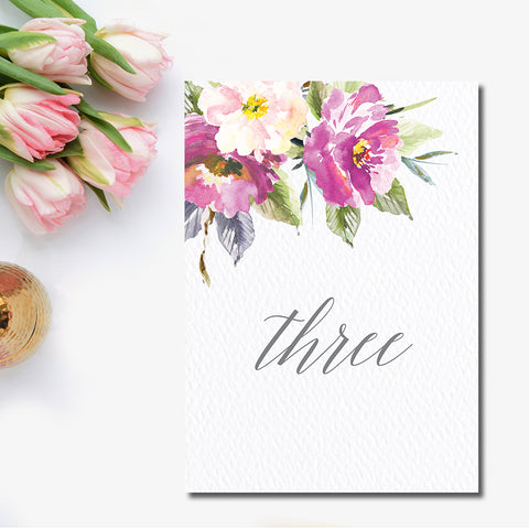 Bohemian Floral Table Number
