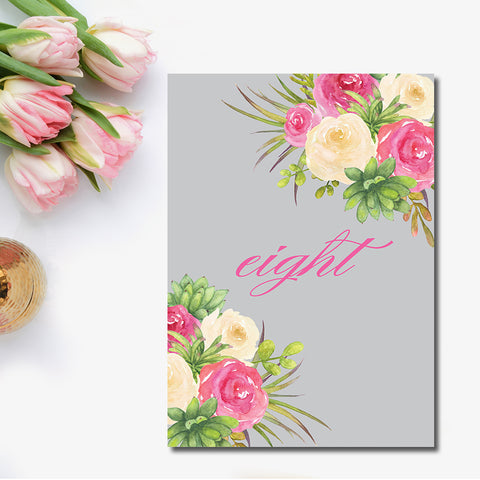 Rose Watercolor Illustrated Table Number