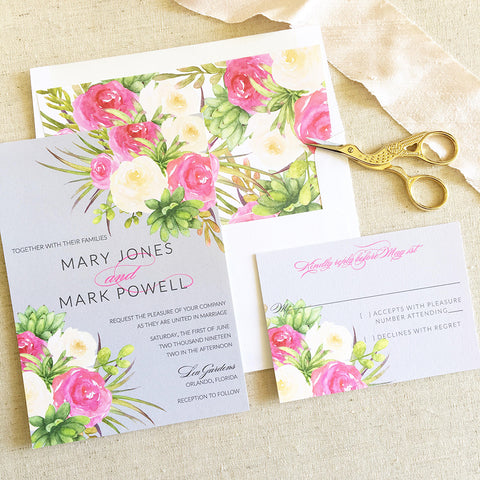 Rose Illustration Watercolor Wedding Invitation - Flat Printing